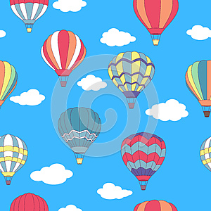 Seamless pattern of flying hot air balloons (vector, raster,  illustration, transportation)
