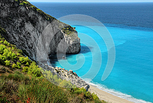 White Sandy Beach Lefkada Island Coast
