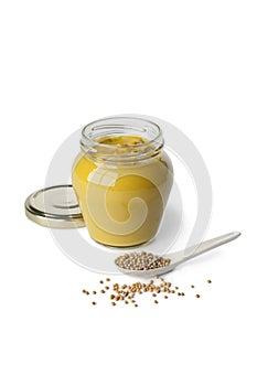 Senf in einem Glas und in den Senfstartwerten für zufallsgenerator