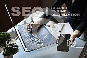 SEO. Search Engine optimization. Digital marketing and technology concept.