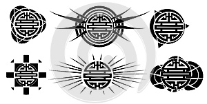 Set of Chinese symbol of double happiness tattoo