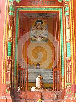 Shiva Street Shrine with altar Varanasi India
