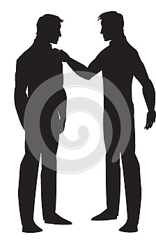 Silhouette of two men talking, illustration