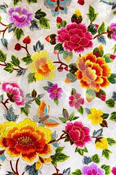 Silk embroidery flowers