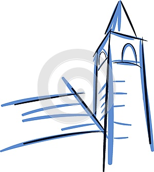 Sketch of an Isolated Stylized church