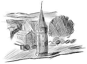 Sketch of the port tower in Lindau, Germany