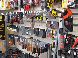 Small tools in a store.