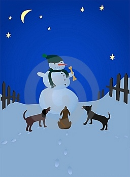 Snowman and dogs