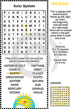 Solar system themed wordsearch puzzle