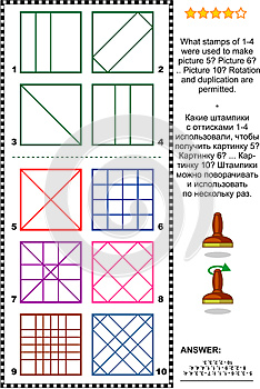Stamps and prints picture puzzle