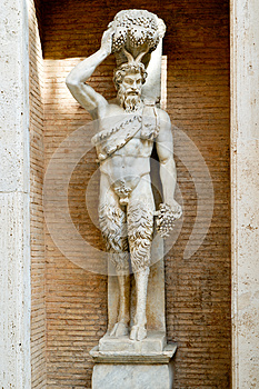 Statue of the Roman god of the Faun in Rome
