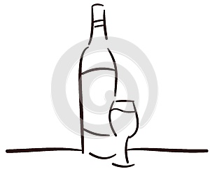 Stylized Bottle and glass of wine