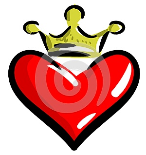 Stylized Heart with crown isolated