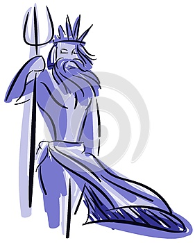 Stylized Neptune in blue tones isolated