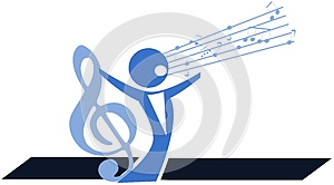 Stylized singer with treble clef isolated
