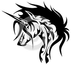 Stylized unicorn in black and white isolated
