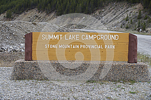 Summit Lake Sign Alaska Highway Canada
