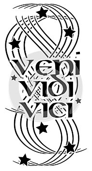 Tattoo with words veni vidi vici isolated