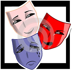 Theater masks on abstract background