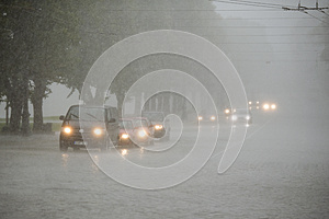 Traffic in heavy rain