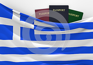Travel and tourism in Greece, with assorted passports