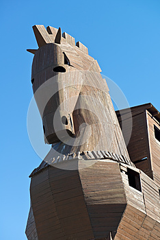 Trojan Horse at Troy Archeology Site in Turkey