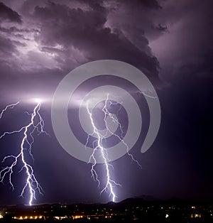 Tucson Mountain Lightning - Best Deal Tucson Stock Photos Local Stuff