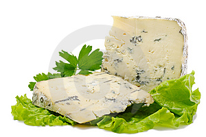 Two pieces of blue cheese