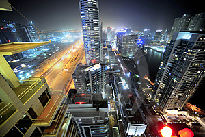 United arab emirates: dubai skyline at night