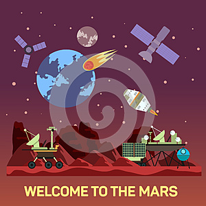 Vector flat illustration of Mars colony with comets, meteors, craters, satellites, bases, rover, shuttles in space