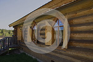 Vintage Log Church shutters