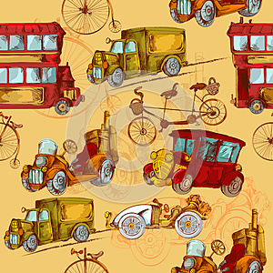 Vintage steampunk cars and bikes seamless pattern (vector, raster,  illustration, transportation)