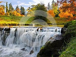 Waterfall, Autumn, Landscape, Colours