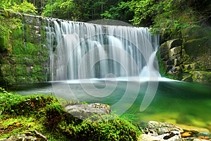 Waterfalls Emerald Lake Forest Landscape
