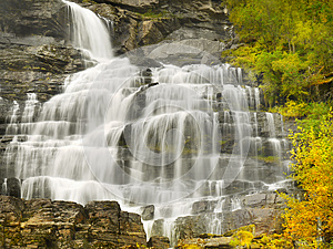 Waterfalls, Falls, Autumn, Norway