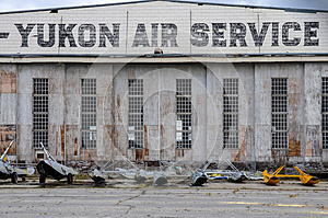 Watson Lake, Canada, historic airport hangar