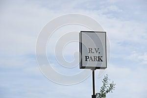 White R.V. Park sign