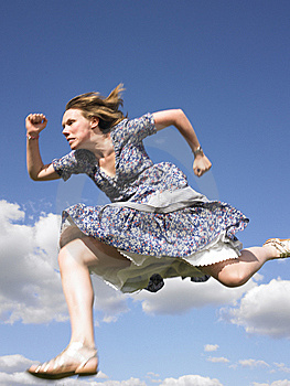 Woman Running in Dress
