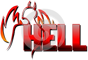 Word hell with stylized devil isolated