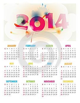 2014 Year Calendar - 12 Months