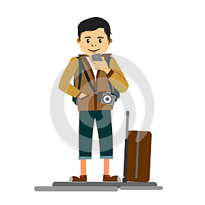 Young handsome man traveler or tourist flat illustration