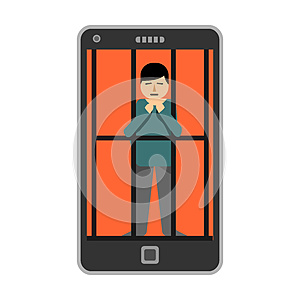 Young man locked inside smartphone