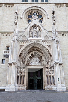 Zagreb Cathedral on Kaptol, Croatia. Entrance to the church