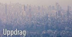 Dimma över staden av Beirut