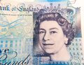£5 pound note close up for Queen's face Royalty Free Stock Photo