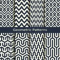 Vector set with eight seamless geometric patterns. design for covers, wrapping, interior
