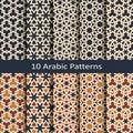 Set of ten seamless vector arabic geometric traditonal patterns. design for print, interior, textile, packaging