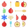 stock image of  Rosh Hashanah set: pomegranate and apple, candle, glass, honey, spoon for honey