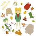 Illustration of a girl in autumn clothes