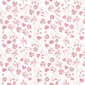 Raster festive pattern with pink flowers and hearts for Valentine`s Day gift wrapping, wedding
